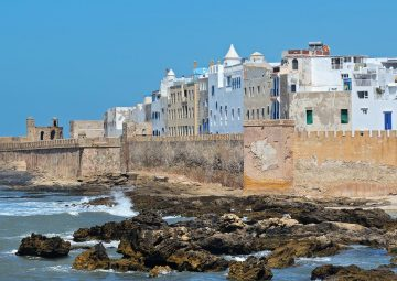 View of medina of Essaouira in Morocco on the Atlantic coast, North Africa. The old part of town is the UNESCO world heritage sites.